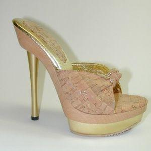 XTC Melrose Platform Cork Leather Wood Sandals